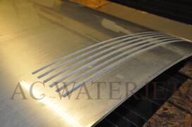 "Waterjet Cutting "" custom curve slots"" Material: 3/8"" thk Aluminum Finish: 2B finish"