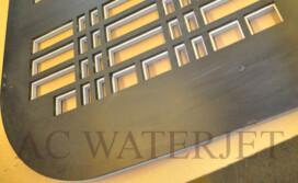 Custom Waterjet Cutting 1/4″ thk Steel Floor Grill and 3/8″ thk Porcelain